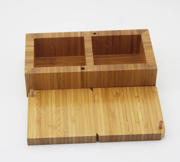 BAMBOO SALT RECTANGULAR DISPENSER 22X11X7