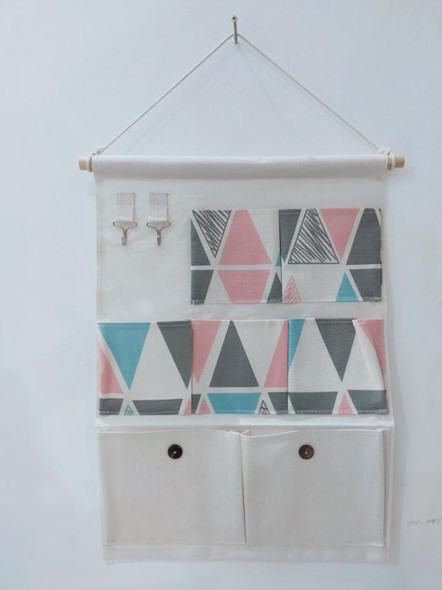 Canvas Hanging Organizer 7 Pouch with Hook