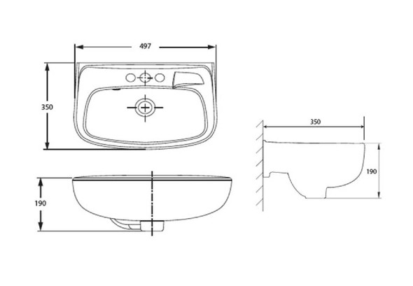 New Codie Square 350mm Wall-Hung Lavatory