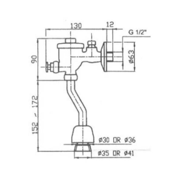 F501 Urinal Push Button Flush Valve