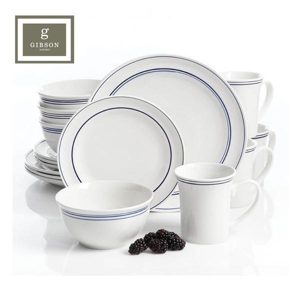 Gibson Home Porto 16 Piece Dinnerware Set, Blue