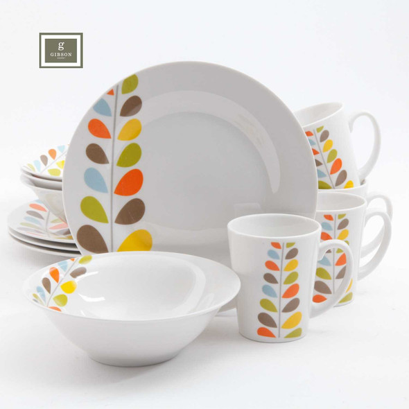 Gibson Home Flourishing 12 Piece Dinnerware Set
