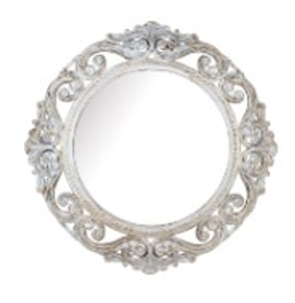 Decorative Round Wall Mirror White A -725W