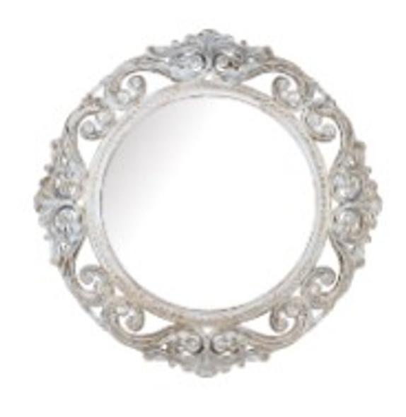 Decorative Round Wall Mirror White A -725W