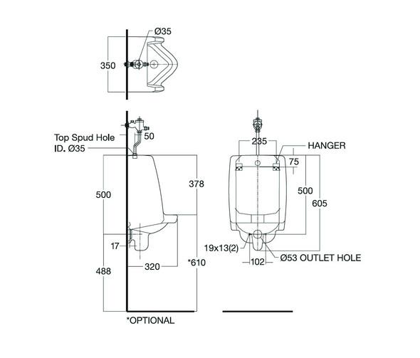 Mini Washbrook Wall-Hung Urinal