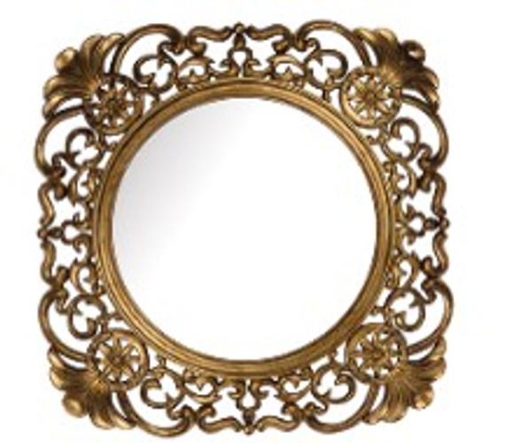Decorative Square Wall Mirror Gold A -730A