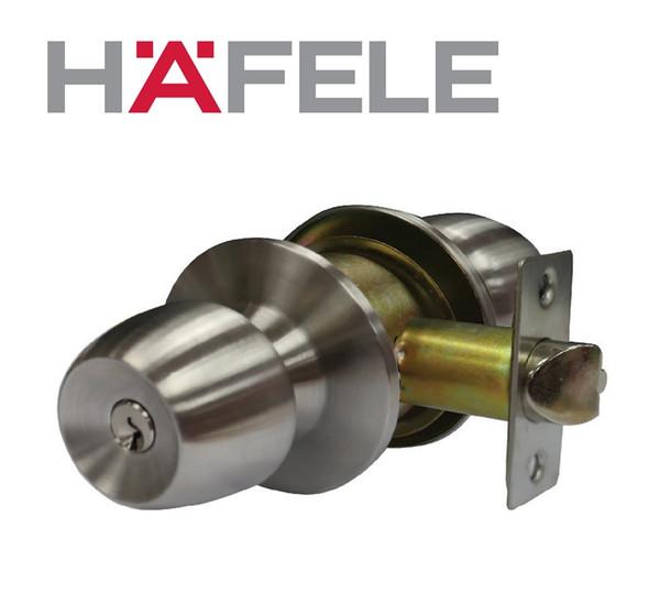 Hafele 489.10.454 Entrance Cylindrical Knob Lockset Stainless