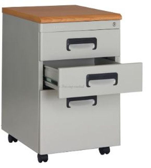 Elexa Wasil Mobile Cabinet Wood Top Gray