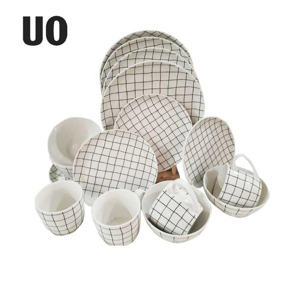 UO Home 16-Piece Wonky Grid Dinnerware Set