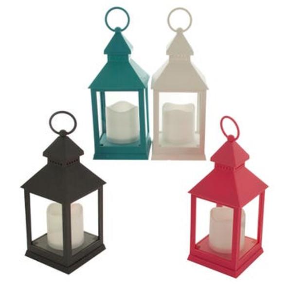 OS890 Decorative Glass Paned Flameless LED Lantern