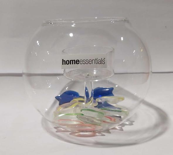 9980 Ocean View Tea Light Holder with Multi Color, Handmade Glass Fish