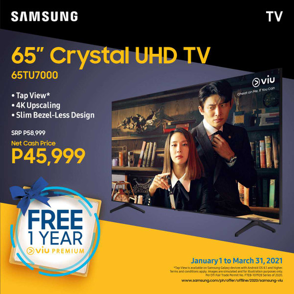 """SAMSUNG UA65TU7000 65"""" 4K UHD SMART TV"""