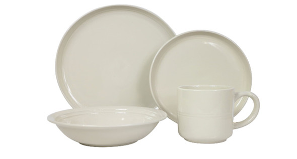 DS-ALIZAH-WHT 8PC STONEWARE DINNER SET