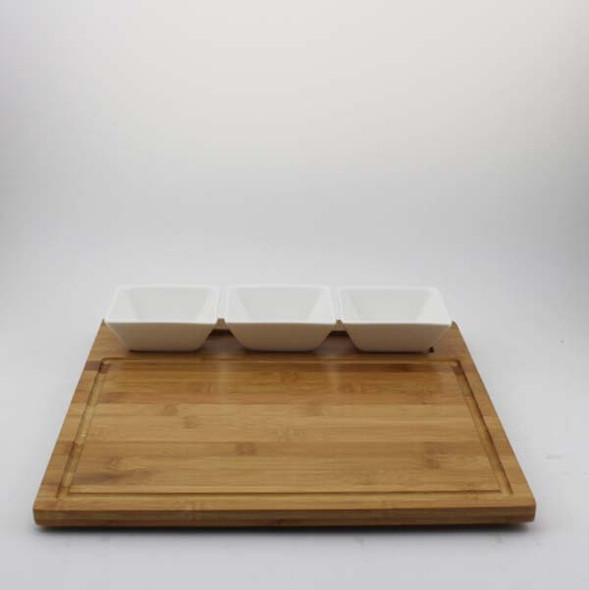 TWS356 4PC Serving Ceramic and Bamboo Serving Set