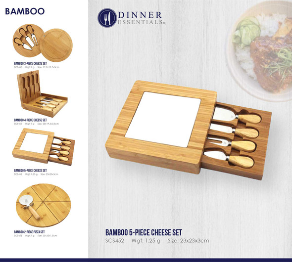 SCS452 Bamboo 5-pc. Square Cheese Set 23x23x3