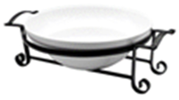CT-AIRELL-31 SERVICE BOWL WITH BLACK METAL HANDLE