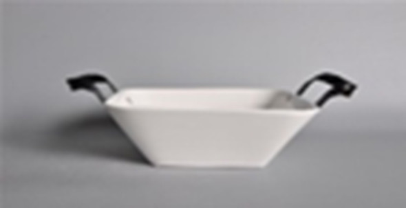 CT-BISQUE SQUARE BOWL WITH BLACK METAL HNDLE 1.5L