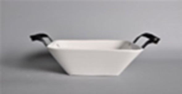 CT-BISQUE SQUARE BOWL WITH BLACK METAL HNDLE 3L