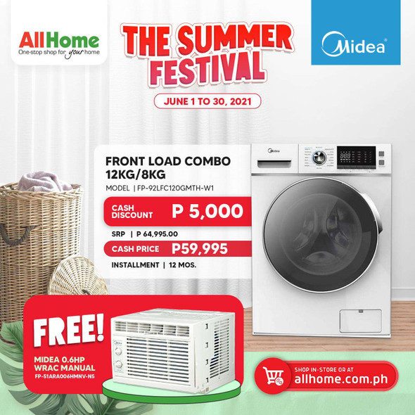 MIDEA Frontload Combo Washing Machine 12kg/8kg FP-92LFC120GMTH-W1