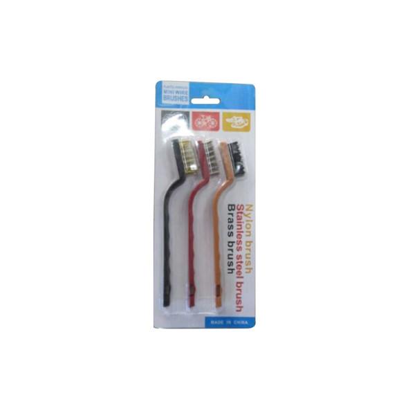 RHM1505-1026 Steel Brass Nylon Cleaning Polishing Metal Rust Brush Mini Wire Brush Set