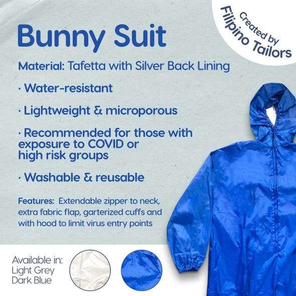 PPE BUNNY SUIT TAFFETA WITH SILVER BACK LINING MEDICAL GRADE
