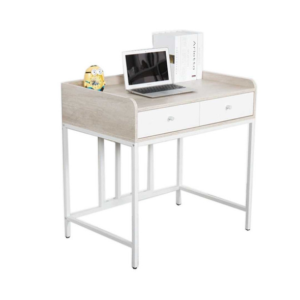 Two melamine drawers and table top with powder-coated legsSIZE: L800 x W540 x H760 mmCOLOR: white/ beech