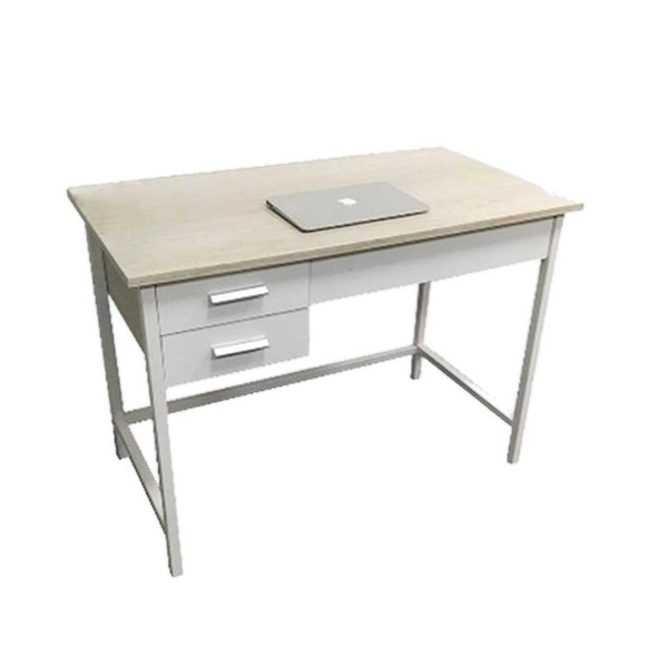 Three melamine drawers and table top with powder-coated legsSIZE: L1000 x W540 x H760 mmCOLOR: white/ beech