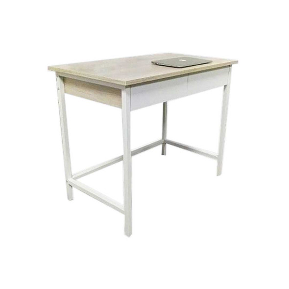 Two melamine drawers and table top with powder-coated legsSIZE: L900 x W540 x H760 mmCOLOR: white/ beech