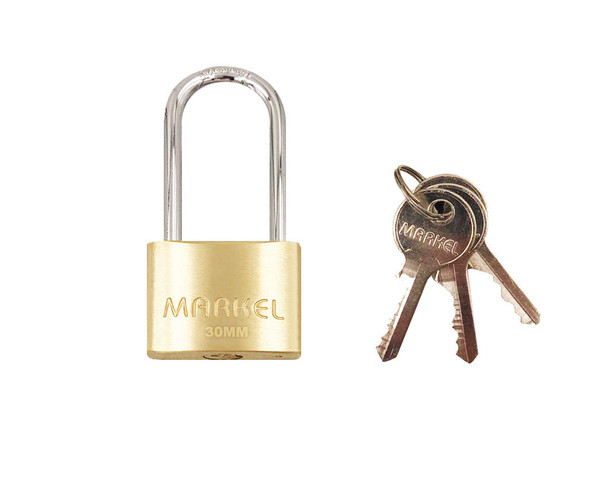 BRASS PADLOCK LONG SHACKLE 30MM