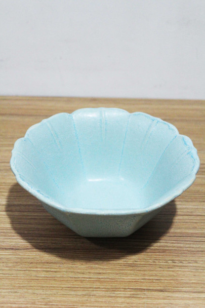 BJY19155-D19449P1 STONEWARE BLUE BOWL MAT GLAZED W/ EMBOSSED