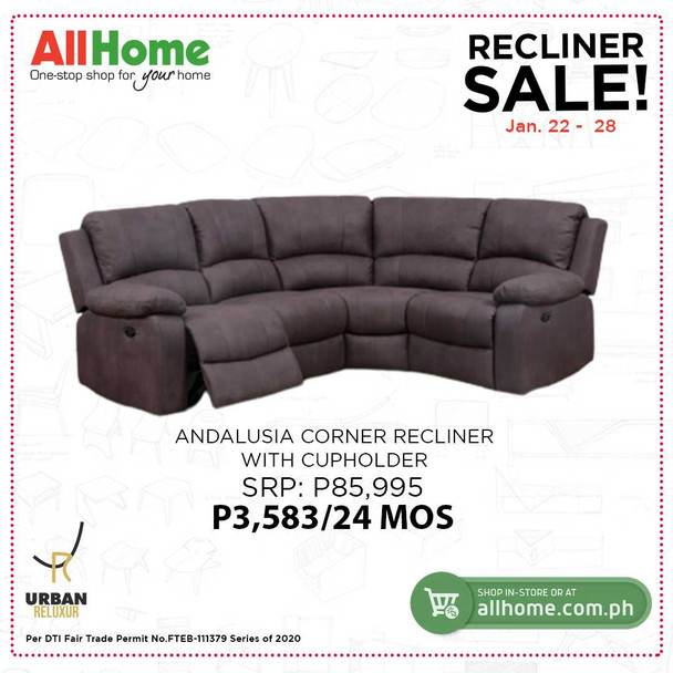 Andalusia corner recliner with cupholder
