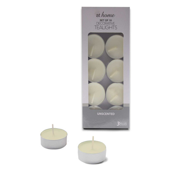 Athome 10 Unscented Tealight White