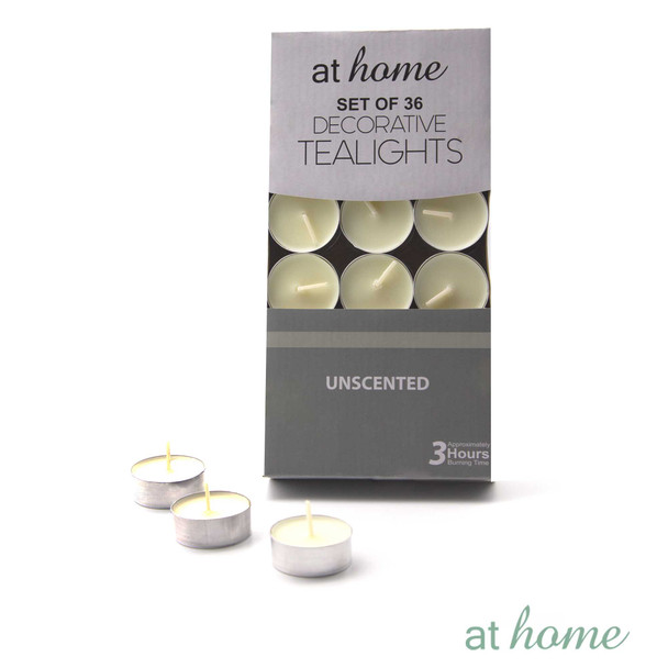 Athome 36 Tealight Unscented White Only