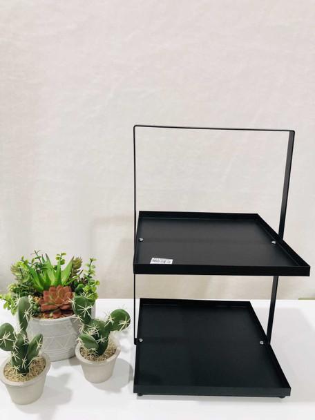 AC006-25-B 2 Tier Rectangular  Plate Stand Black