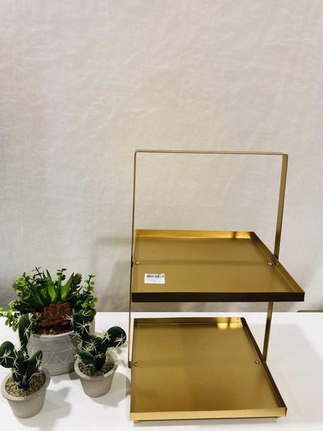 AC006-25-G 2 Tier Rectangular Plate Stand Gold