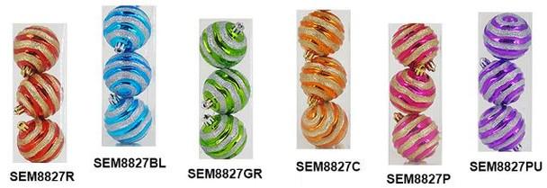 SEM8827 80MM CORRGTD STRIPES XMAS BALL 3'S