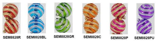 SEM8828 100MM CORRGTD STRIPES XMAS BALL 2'S
