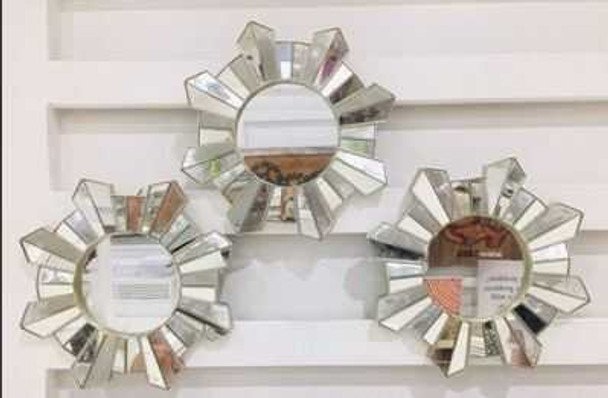 Decorative Mirror Set of 3 Champagne Frame Sunburst Design - 25cm CFII1810-039 KM3071