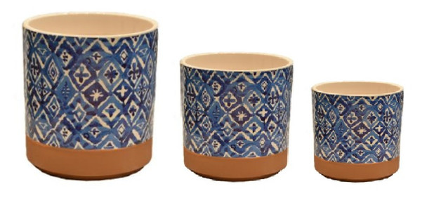 ELM JHF1804-106 Round Pot with Blue Pattern and Brown Base Line Big