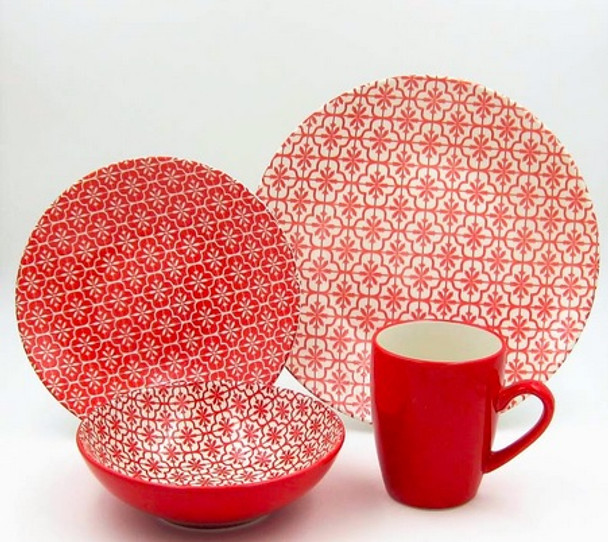 16pc Dinner Set Stoneware – Snowflakes Coral