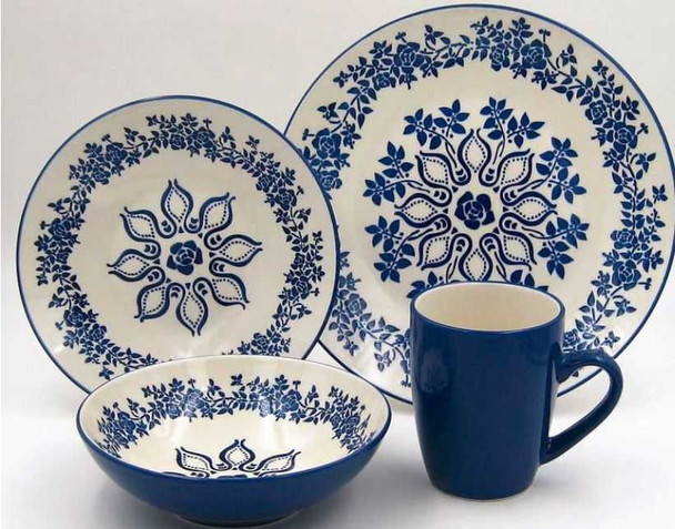 16PC DINNER SET STONEWARE HANNA BLUE