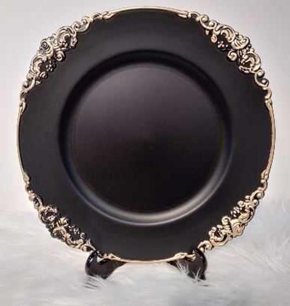 Antique Design Charger Plate Black 35.5X2.5cm