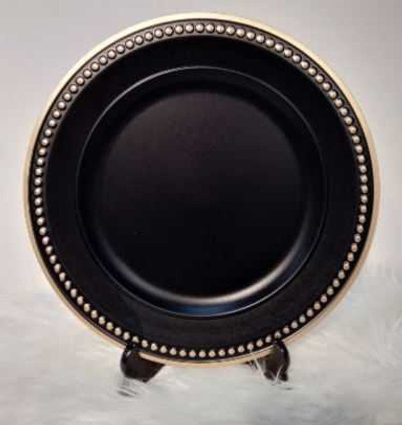 Classic Black with Gold  Charger Plate 33X33X2cm