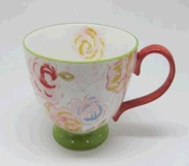 CUP STONEWARE SHINY BEIGE W/ HANDPAINTED DESIGN