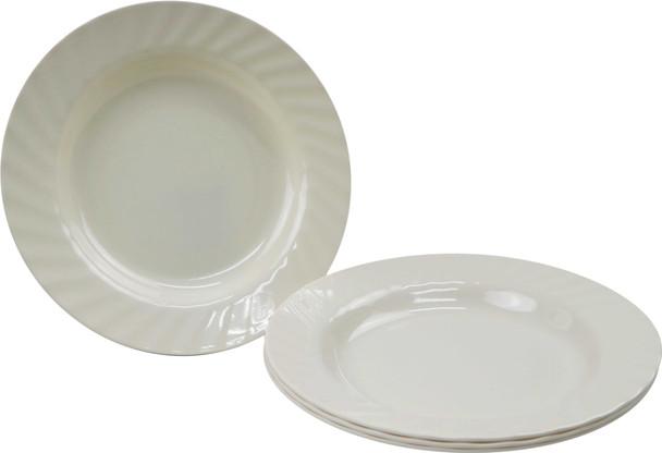 Bestware Round Grooved Plate Cream 10in Set Of 4