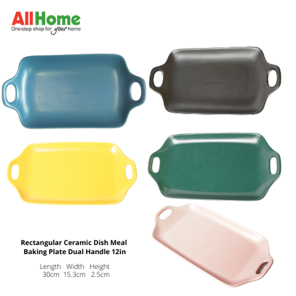 Rectangular Ceramic Dish Plate with Dual handle, measures 12in ,Good for dish holder and meal plate.