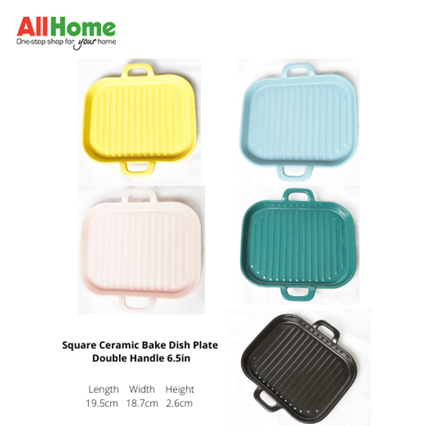 Square Ceramic Bake Dish Plate Double Handle