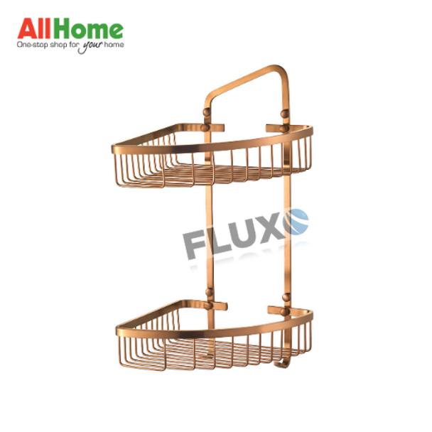 AHBA21 Bathroom Corner Basket 2layer Rose Gold SS304