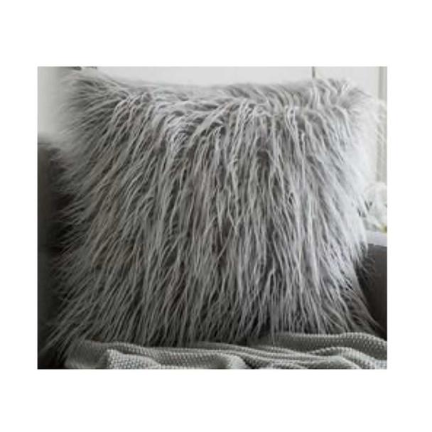 "17""x17"" Gray Faux Fur Throw Pillow Case"