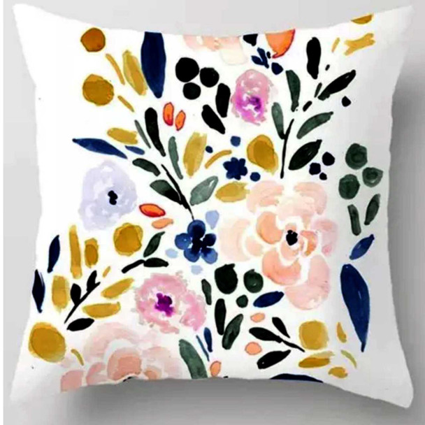 "18""x18"" Floral Design Canvass Throw Pillow Case"